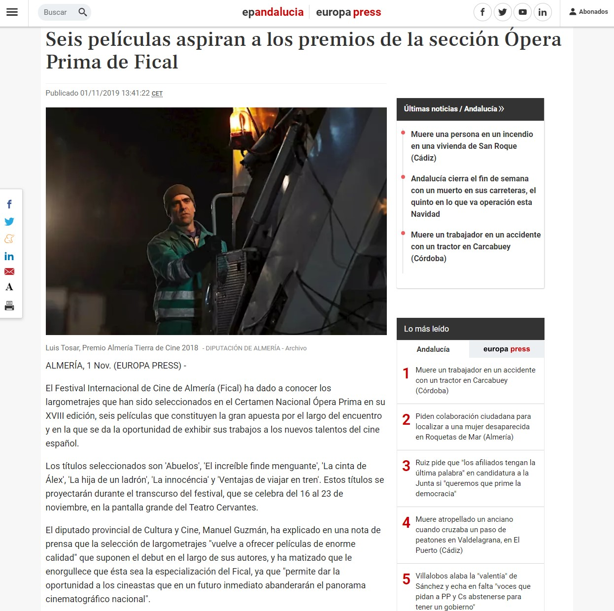 Six films aspire to the awards of the Fical Opera Prima section